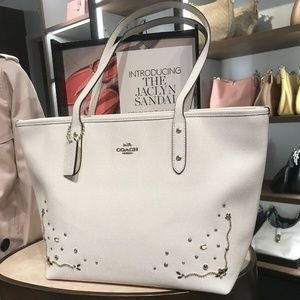 COACH CITY ZIP TOTE WITH STARDUST CRYSTAL RIVETS F